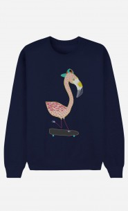 Blaue Sweatshirt Flamingo Skater