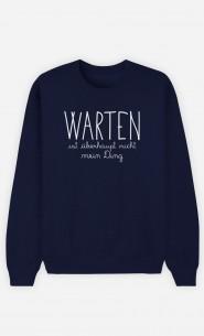 Sweatshirt Blau Warten