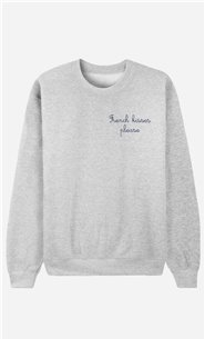 Sweatshirt French Kisses Please - bestickt