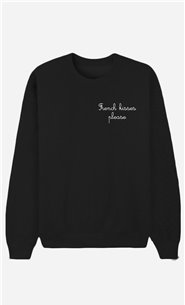 Sweatshirt Noir French Kisses Please - bestickt