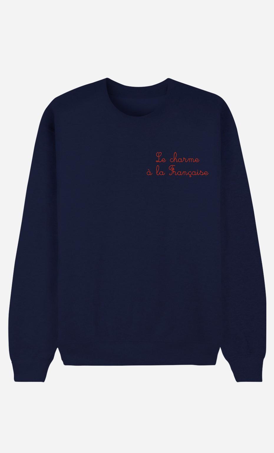 Blaue Sweatshirt Le Charme A La Française - bestickt