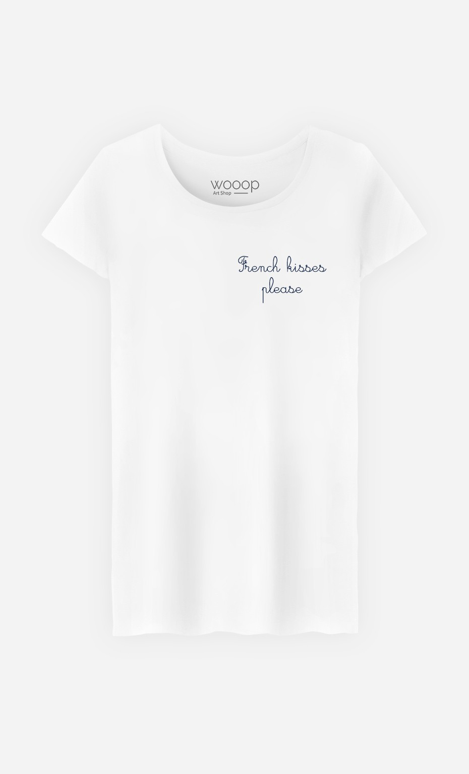 T-Shirt French Kisses Please - bestickt