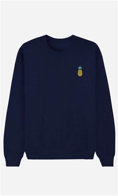 Blaue Sweatshirt Ananas - bestickt
