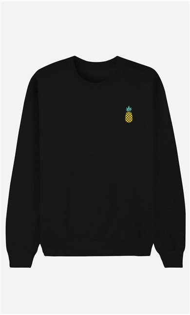 Schwarze Sweatshirt Ananas - bestickt