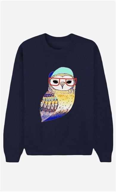Blaue Sweatshirt Hipster Owl