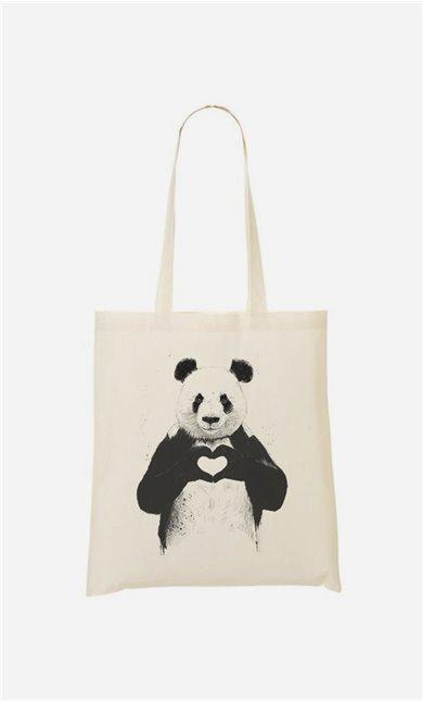 Stoffbeutel Love Panda