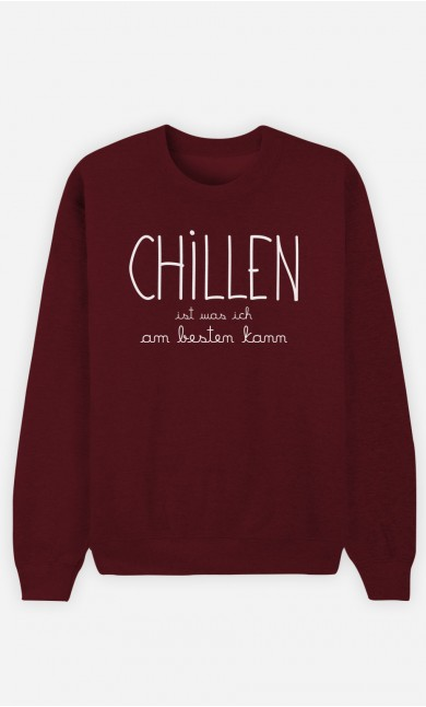 Burgunderrot Sweatshirt Chillen
