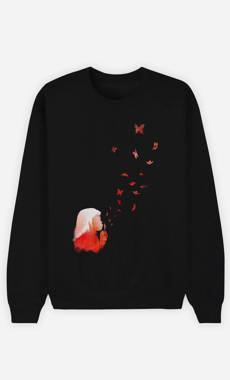 Sweatshirt Schwarz Butterflies
