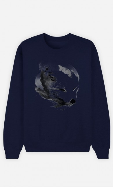 Sweatshirt Blau White Fox Alpha