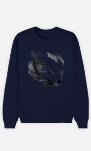 Sweatshirt Blau White Fox Alpha