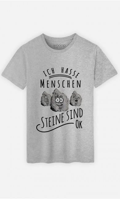 T-Shirt Ich hasse Menschen. Steine sind ok.
