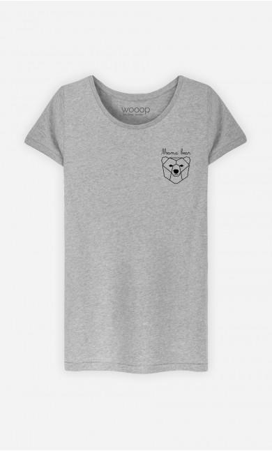 T-Shirt Damen Mama Bear Origami - Bestickt