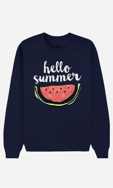 Blue Sweatshirt Hello Summer