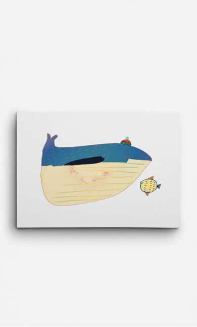 Canvas Whale and Fish