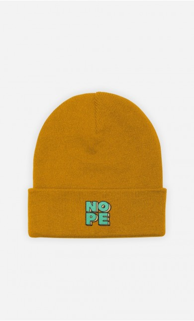 Beanie Nope Green - embroidered