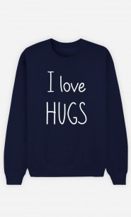 Blue Sweatshirt I love hugs
