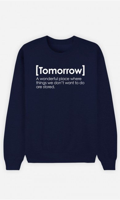 Blue Sweatshirt Tomorrow Definition