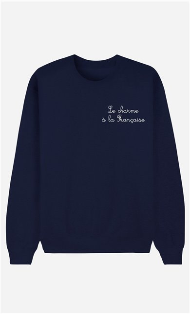 Blue Sweatshirt Le Charme A La Française - embroidered