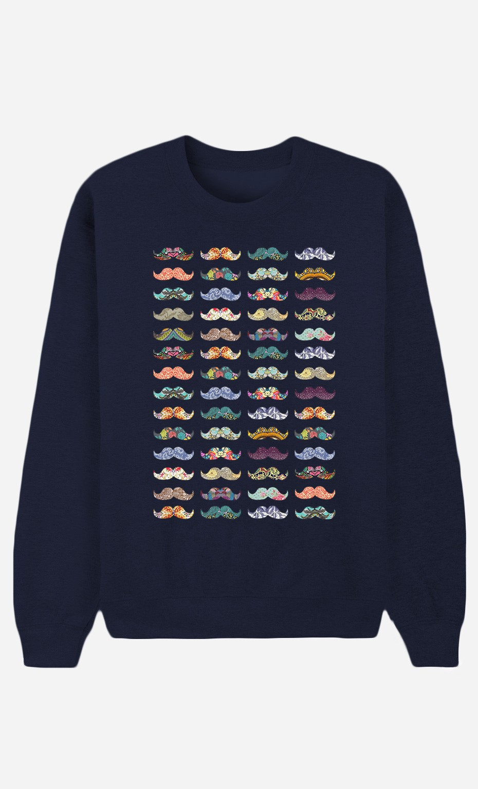 Blue Sweatshirt Moustache Mania