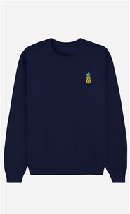 Blue Sweatshirt Pineapple - embroidered