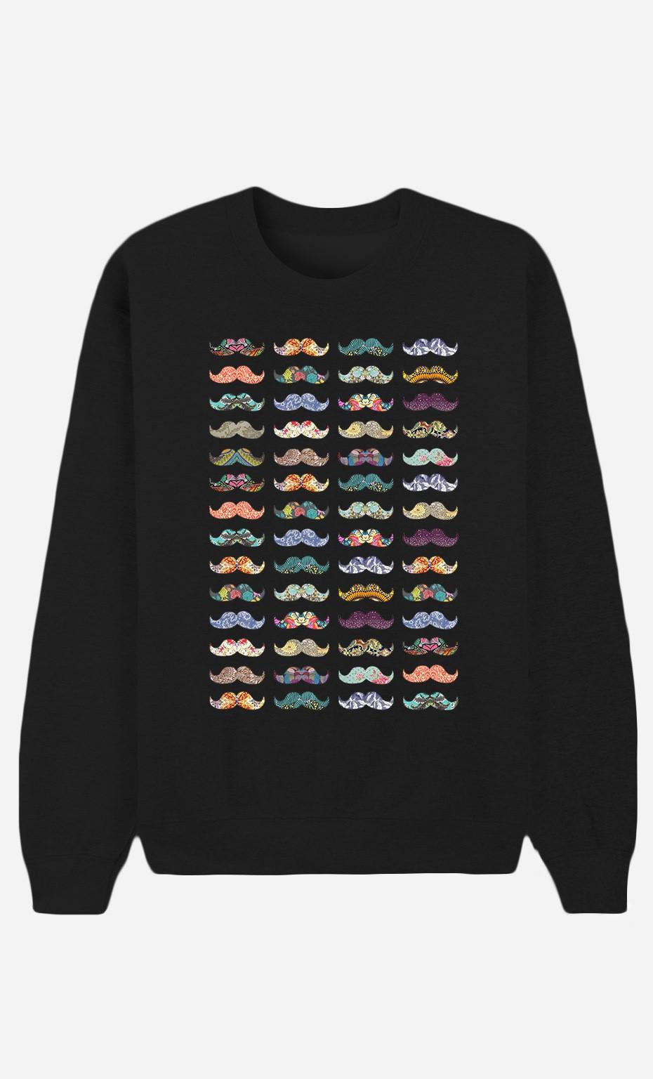 Black Sweatshirt Moustache Mania