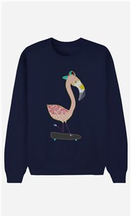 Blue Sweatshirt Flamingo Skater