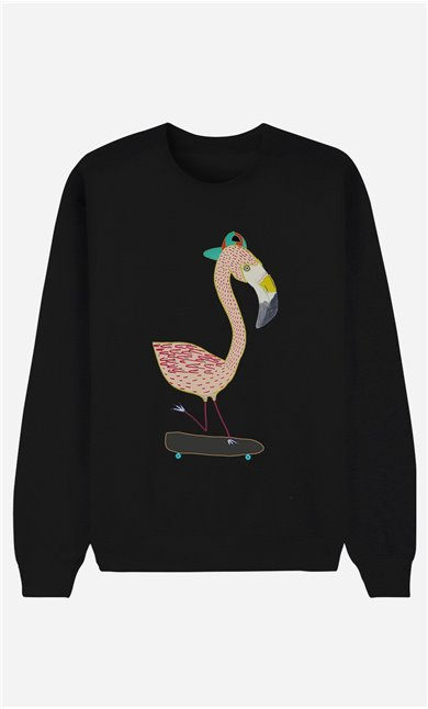 Black Sweatshirt Flamingo Skater