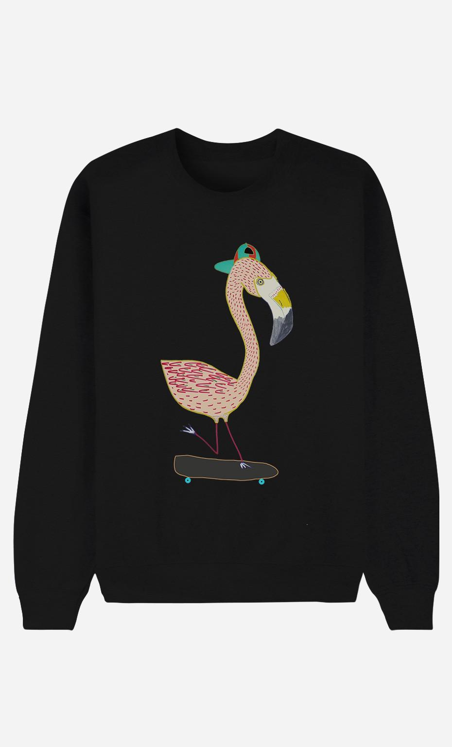 Black Sweatshirt Flamingo Skater
