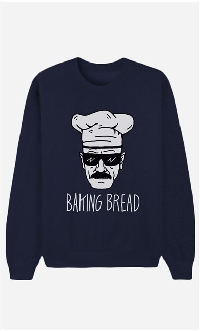 Blue Sweatshirt Baking Bread