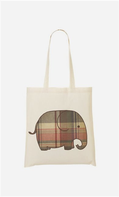 Tote Bag Plaid Elephant