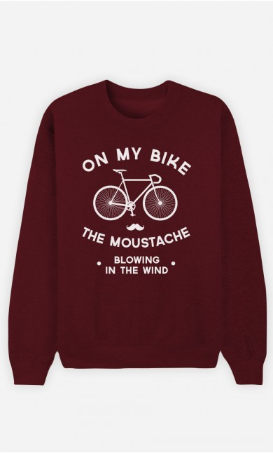 Burgundy Sweatshirt The Moustache Blowing