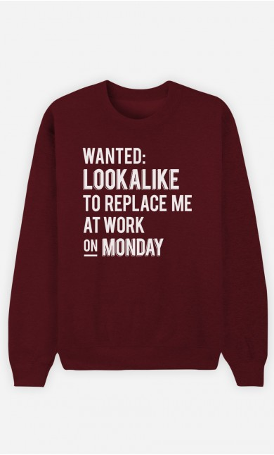 Burgundy Sweatshirt Wanted Lookalike