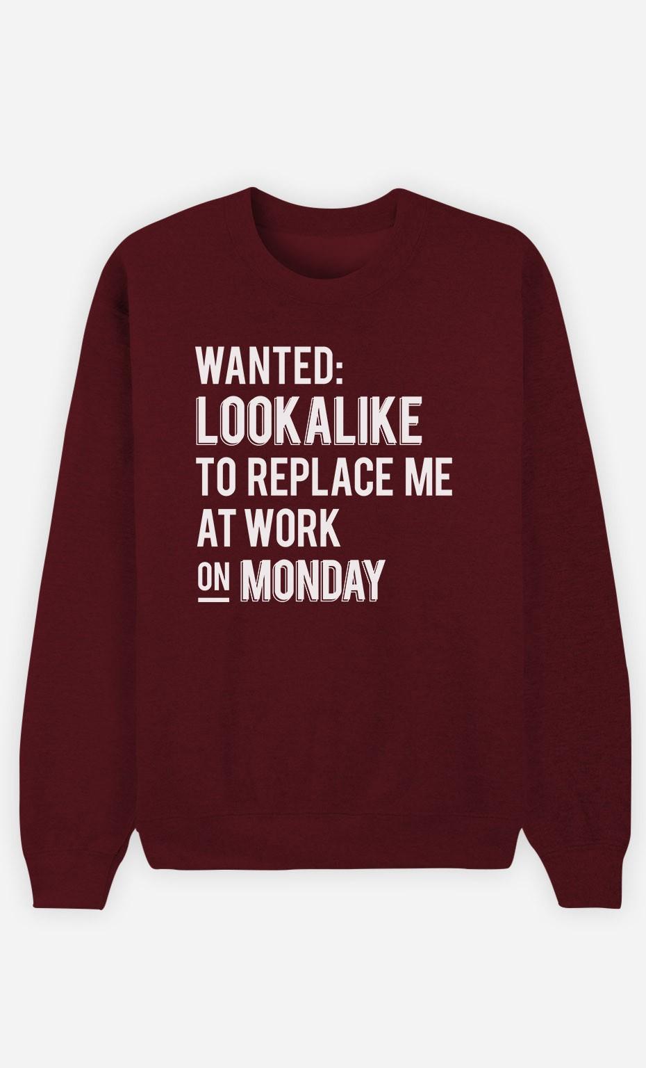 Burgundy Sweatshirt Wanted Lookalike