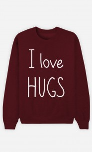Burgundy Sweatshirt I love hugs