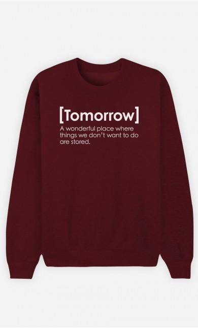 Burgundy Sweatshirt Tomorrow Definition