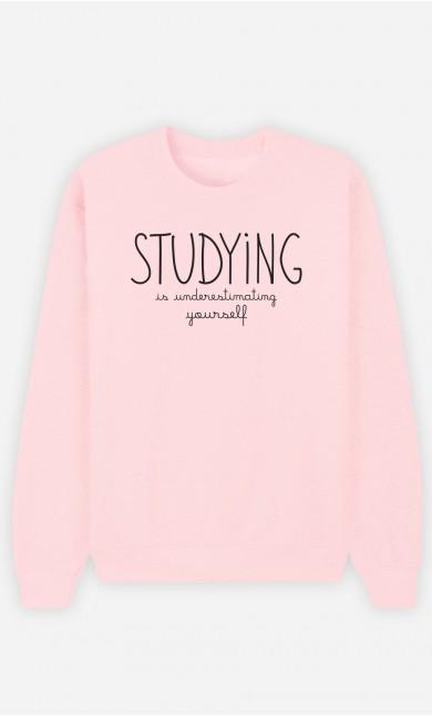 Pink Sweatshirt Studying is Underestimating Yourself