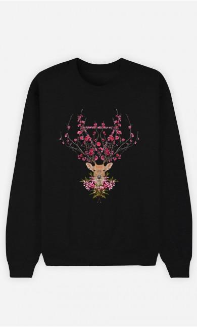Black Sweatshirt Spring Deer