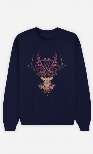 Blue Sweatshirt Spring Deer
