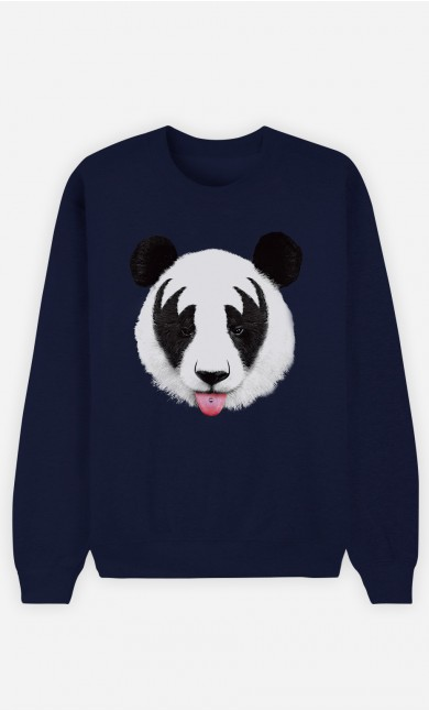 Blue Sweatshirt Panda Kiss