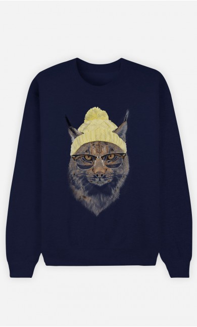 Blue Sweatshirt Geeky Cat