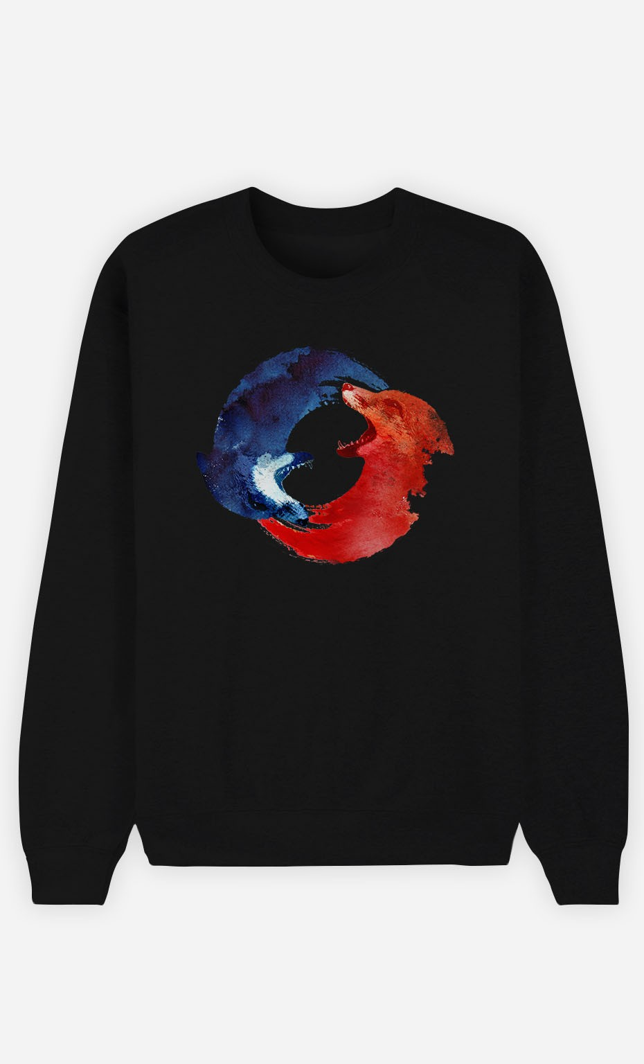 Black Sweatshirt Ying & Yang Foxes