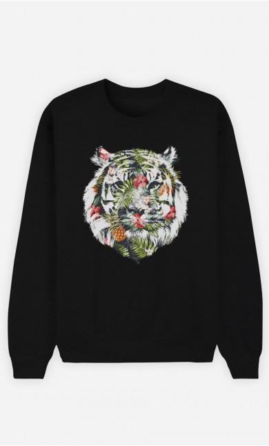 Black Sweatshirt Tropical Tiger