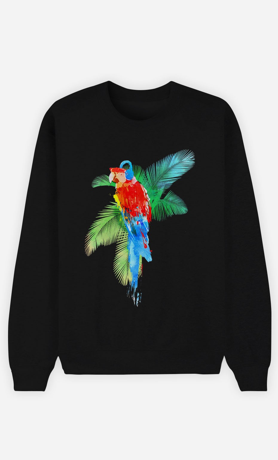 Black Sweatshirt Parrot Party