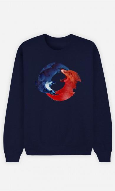 Blue Sweatshirt Ying & Yang Foxes