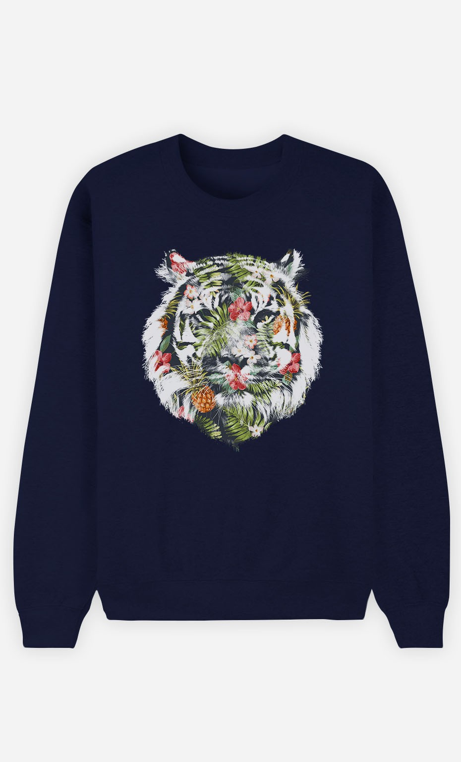 Blue Sweatshirt Tropical Tiger