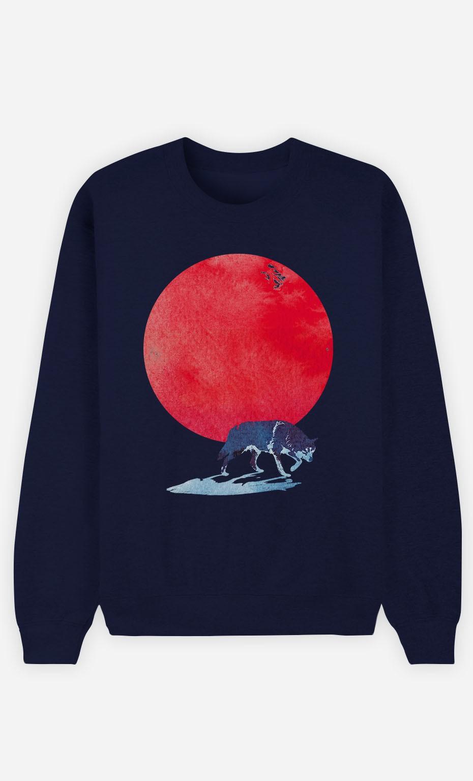 Blue Sweatshirt Red Moon