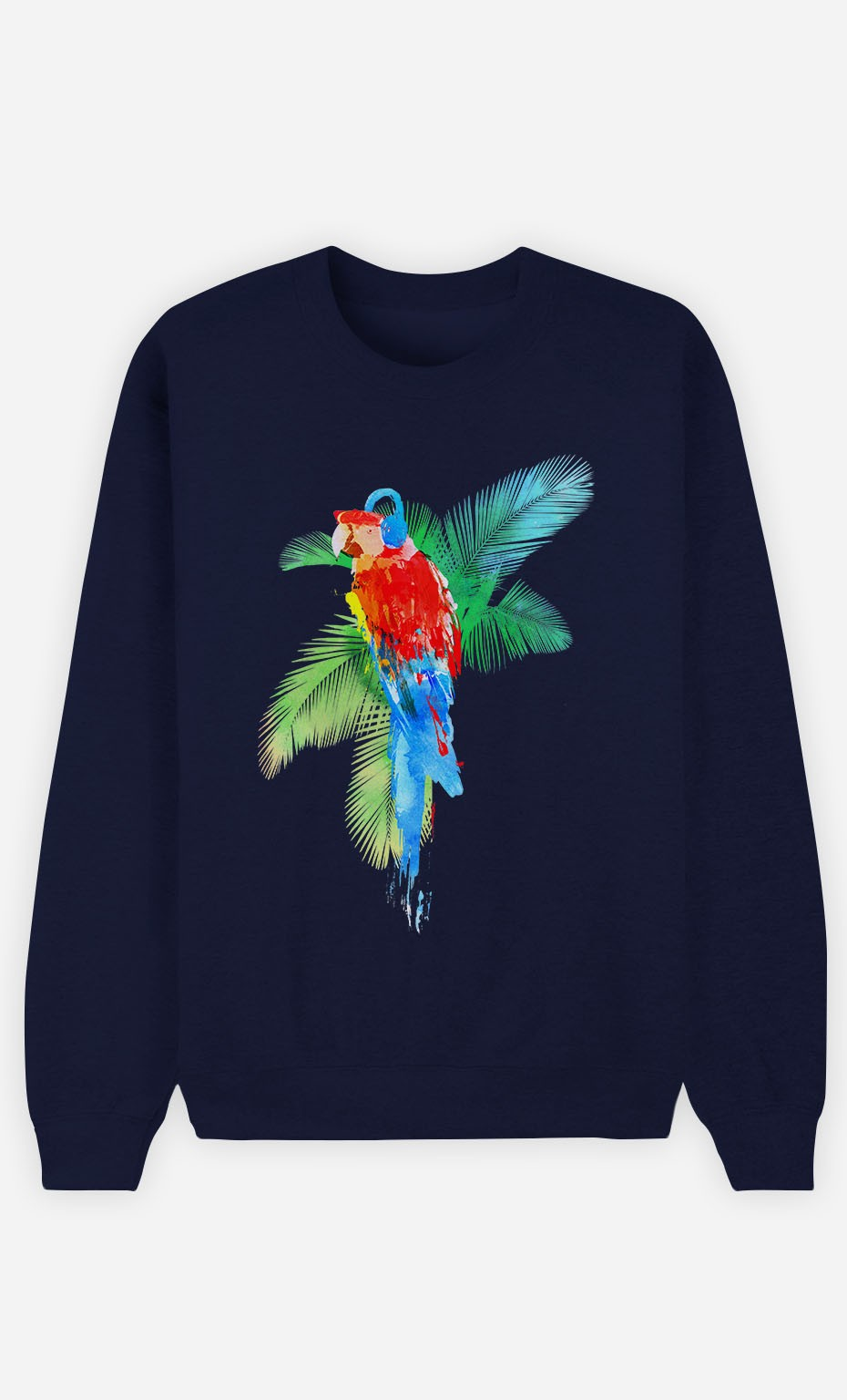 Blue Sweatshirt Parrot Party