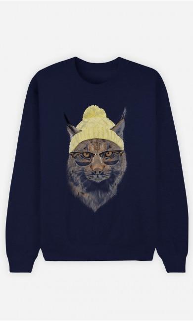 Blue Sweatshirt Geeky Cat