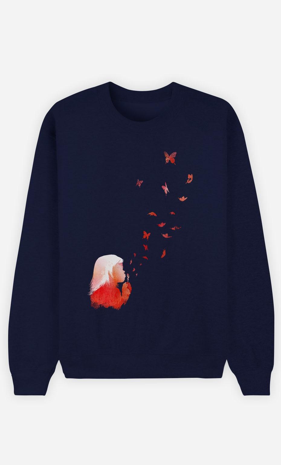 Blue Sweatshirt Butterflies