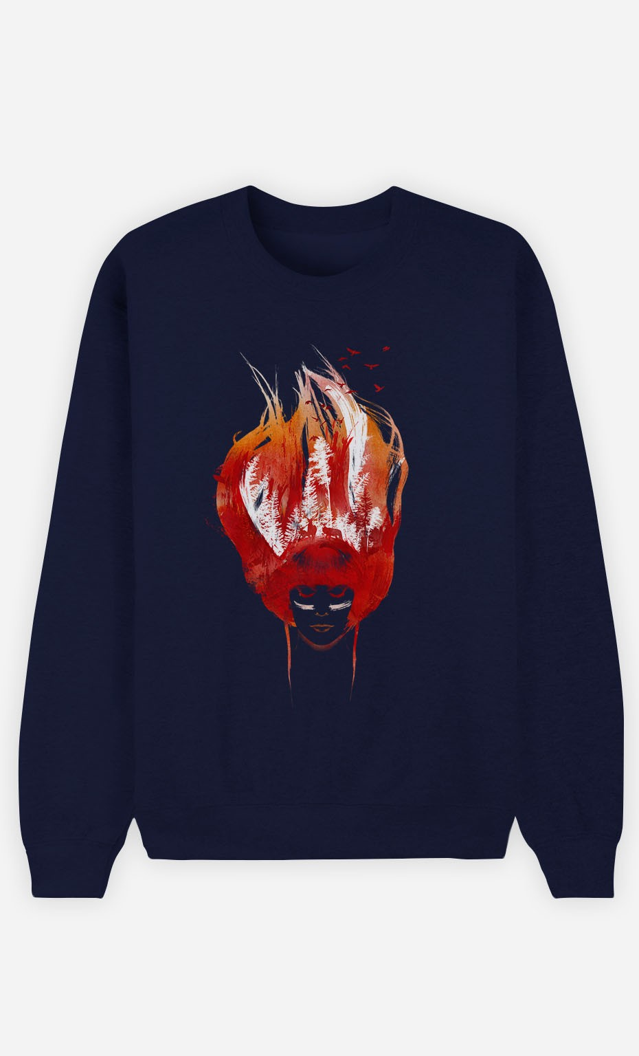 Blue Sweatshirt Burning Forest